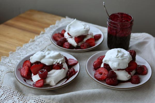 Recipe Rose-scented Pavlovas With Hibiscus And Berries