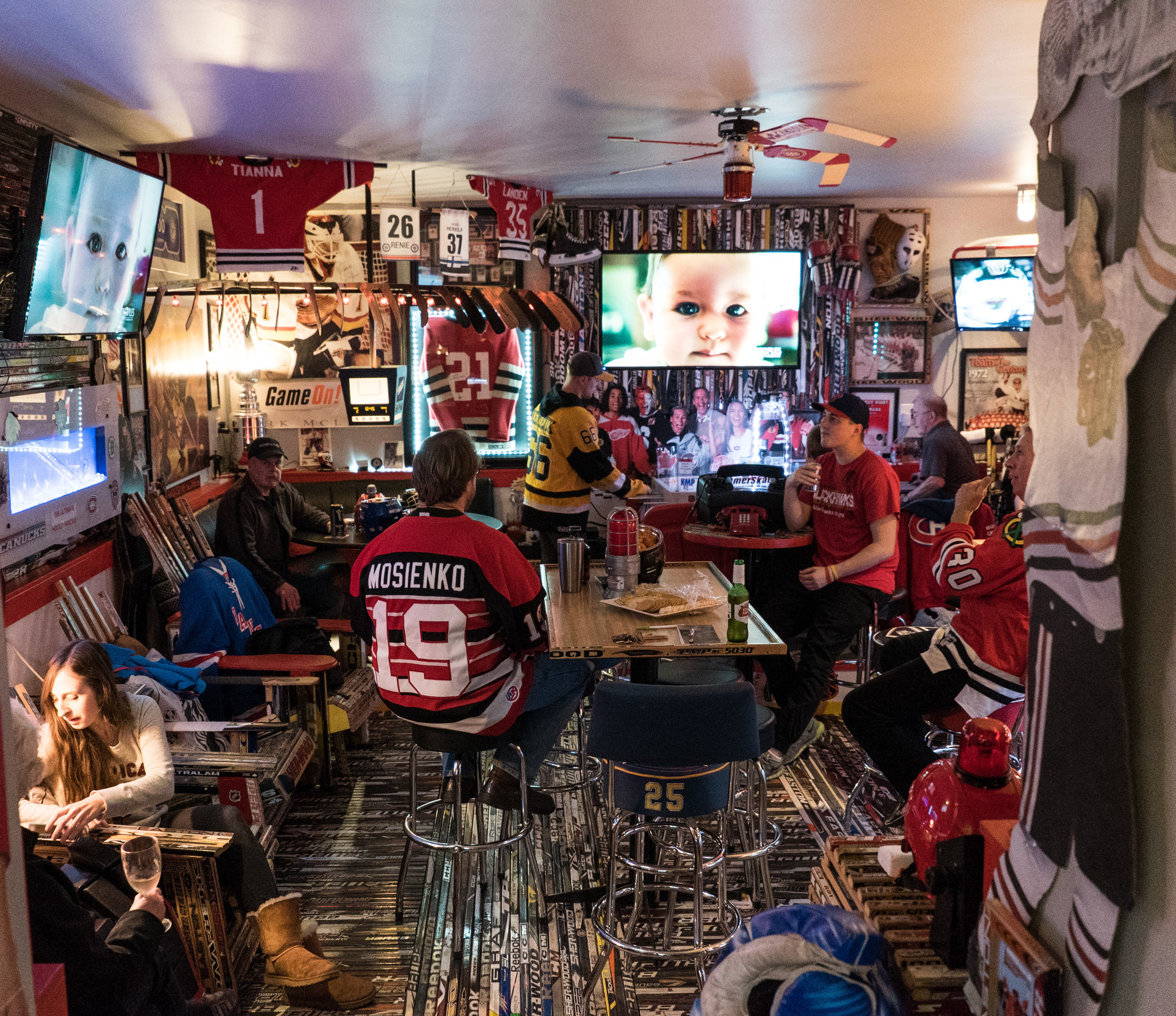 Inside a Blackhawks fans astonishing fan cave  in Canada