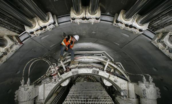 Climb inside the massive tunnel 60 feet below downtown LA  Los Angeles Times