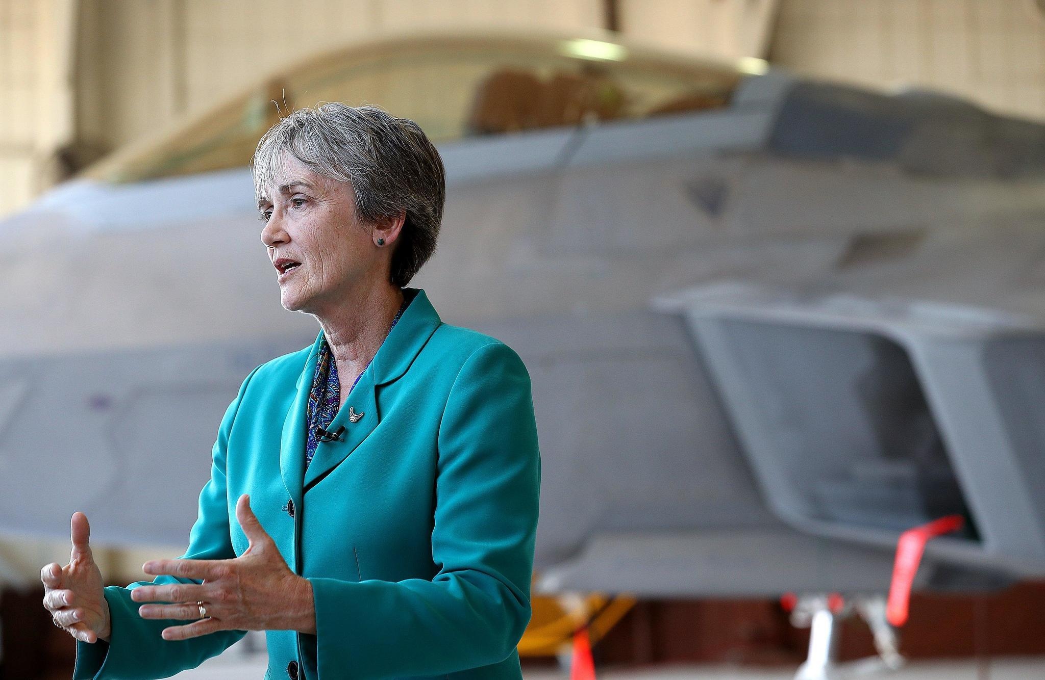 Air Force Secretary Heather Wilson visits Langley AFB highlights pilot shortage  Daily Press