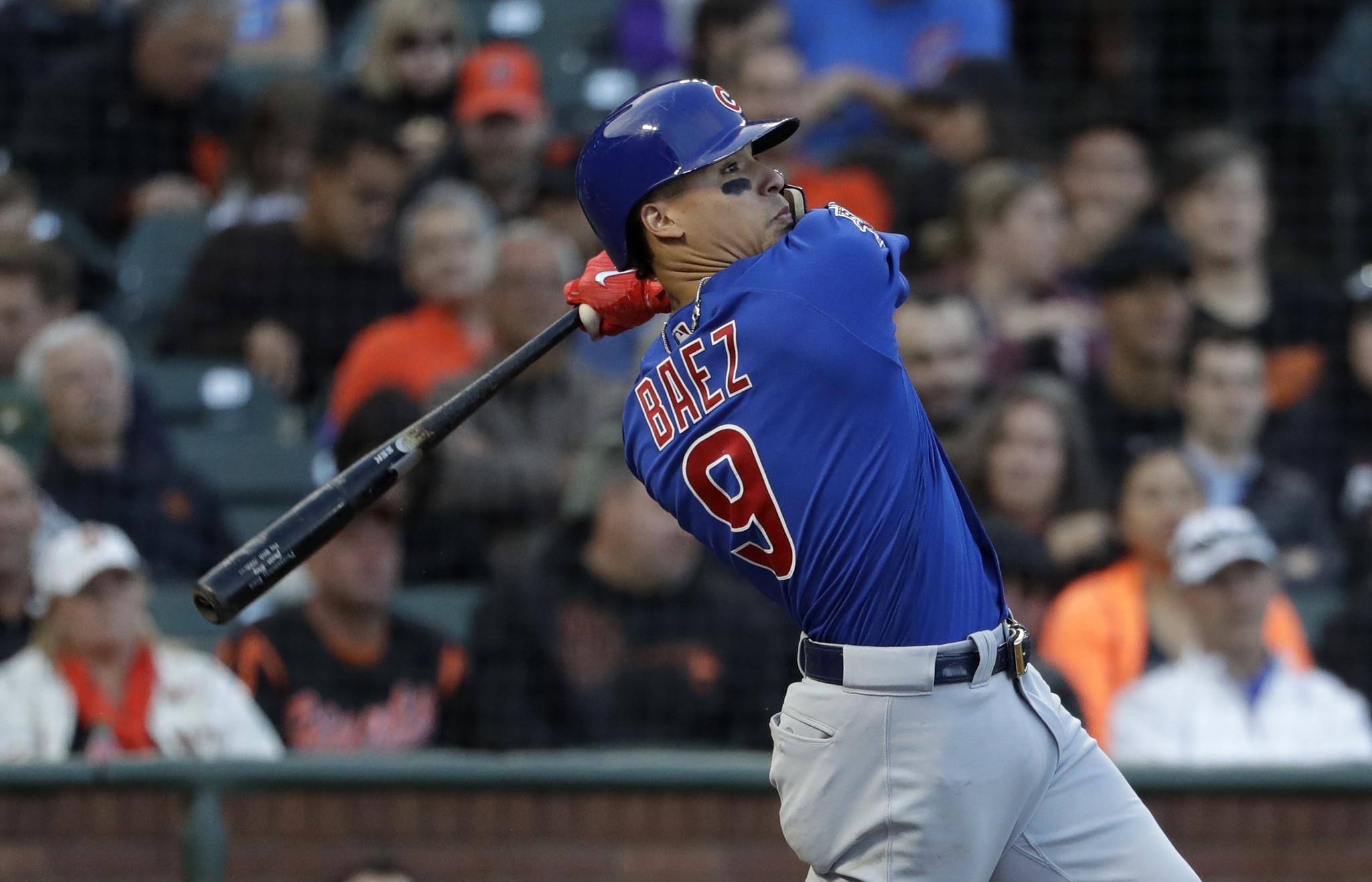 Javier Baez insidethepark HR sparks Cubs to 53 win over Giants  Chicago Tribune