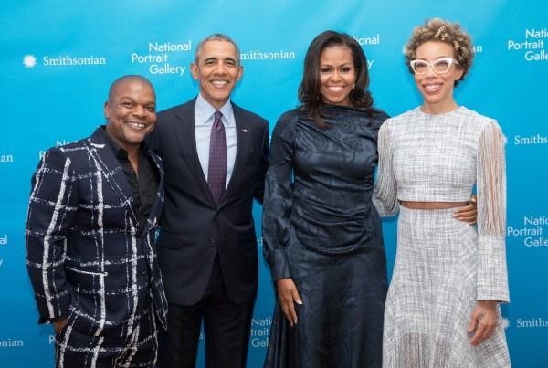 Portraits Of Barack And Michelle Obama Make Debut In Washington . '