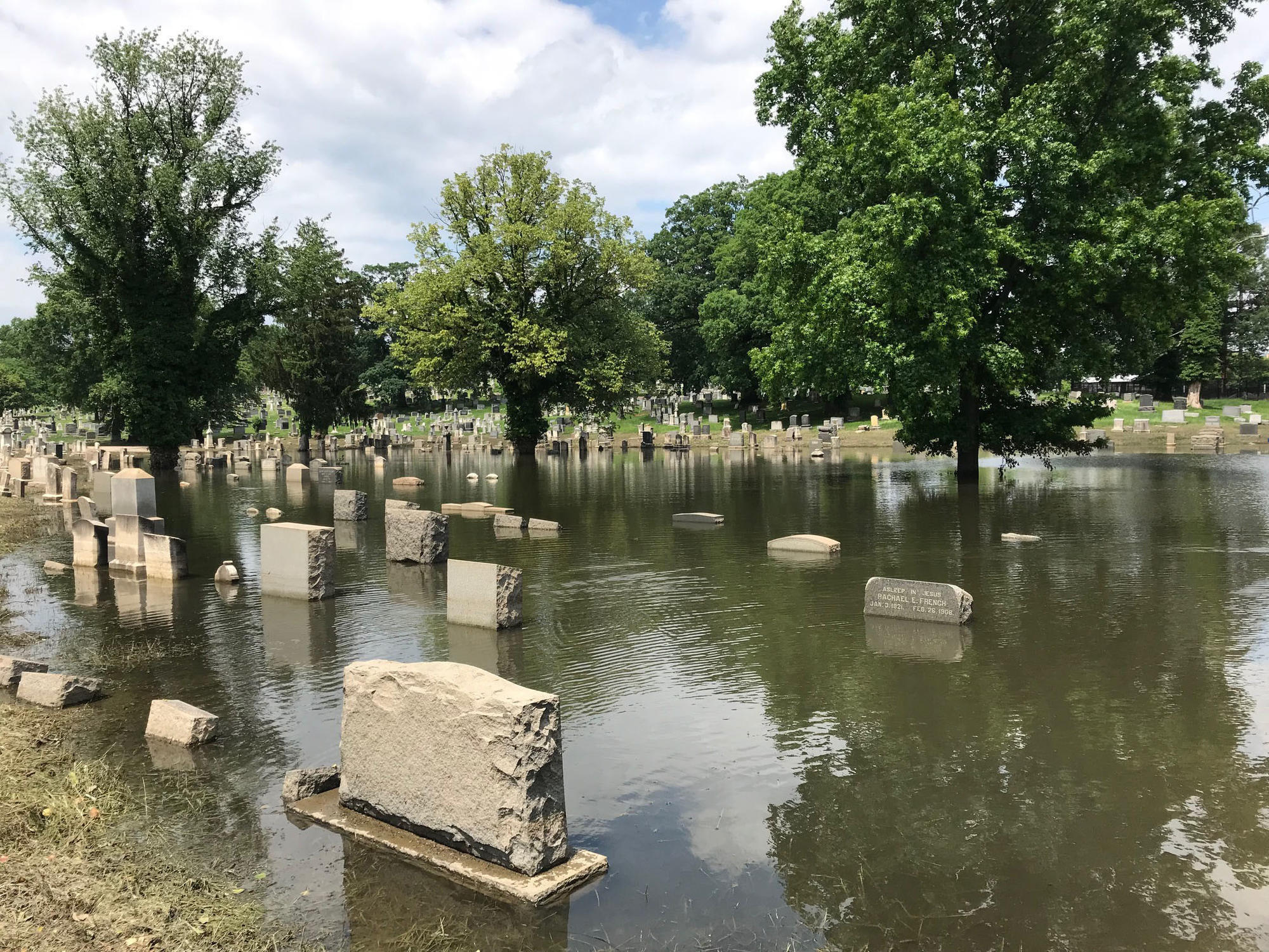 Baltimores historic Loudon Park cemetery affected by flooding after recent storms  Baltimore Sun