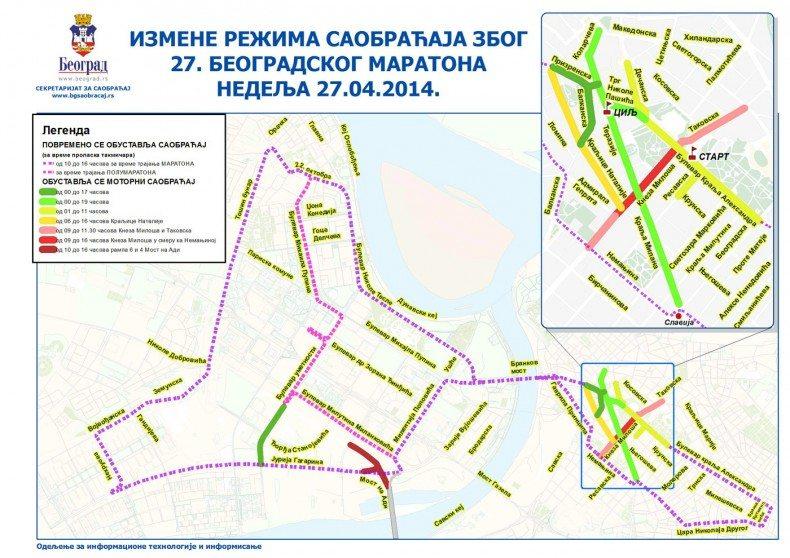 27. beogradski maraton - izmene saobracaja