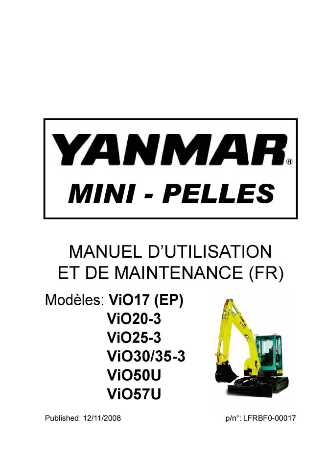 Manuel utilisateur YANMAR vio17, VIO20-3, vio30-3, vio35-3