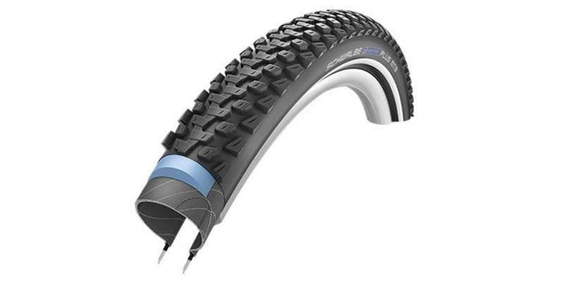 45-degree angle diagram of Schwalbe Marathon Plus MTB bike tire showing layers