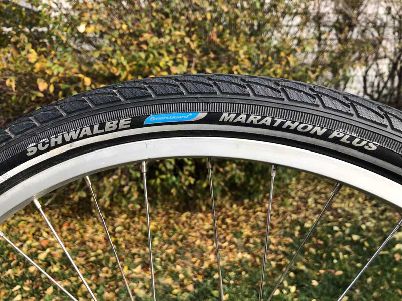 Schwalbe Marathon Plus sidewall mounted to rim