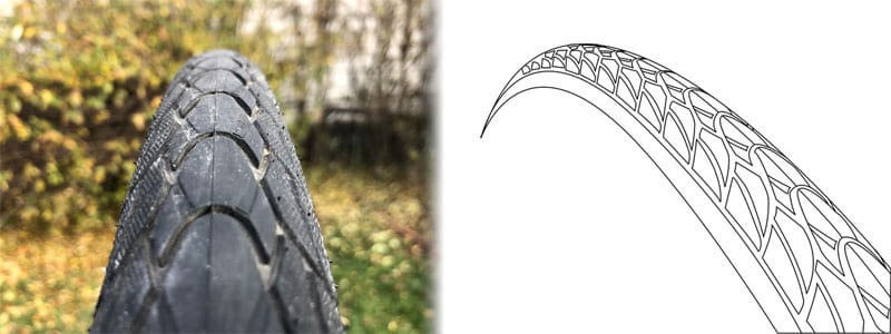left picture of Schwalbe Marathon Plus tread pattern, right outline showing tread at 45-degree angle