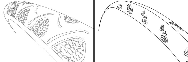 side-by-side outlines showing the similarities and differences between the Continental Gatorskin and Grand Prix All-Season clincher bike tires