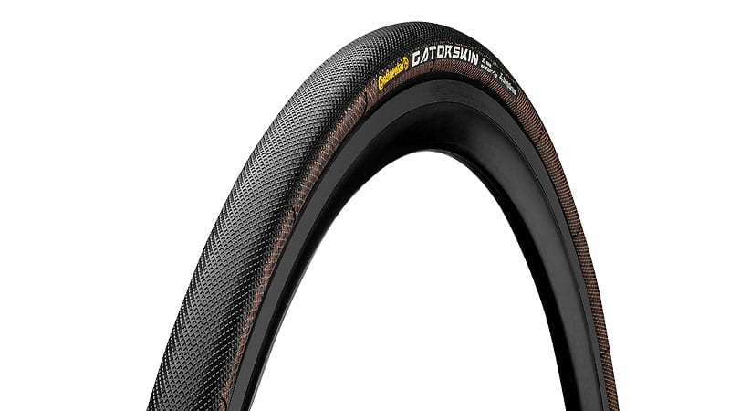 45-degree angle of Continental Sprinter Gatorskin tubular bike tire mounted to rim showing sidewall and tread pattern