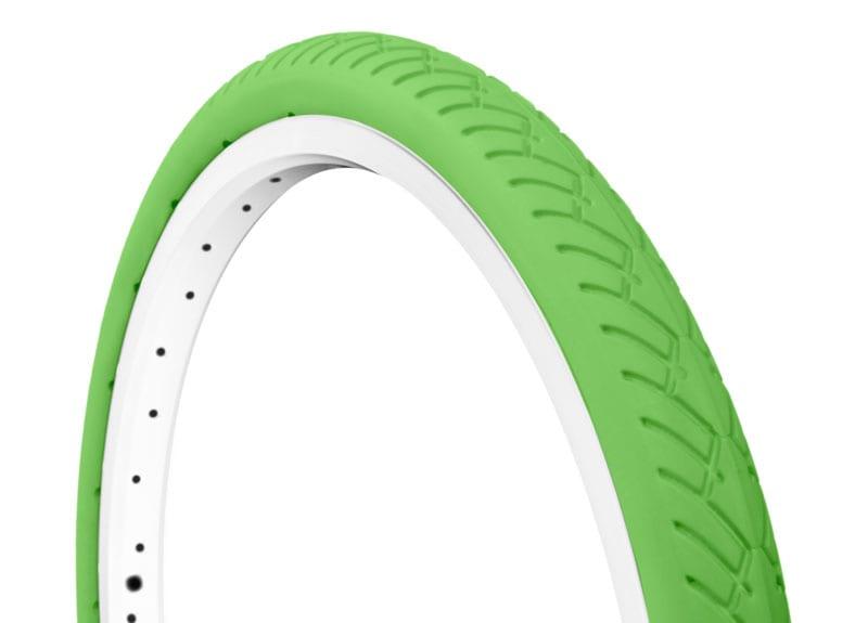 45-degree angle green Tannus Mini-Velo foam airless tire attached to rim