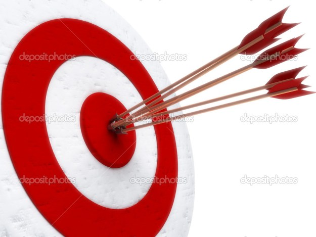 arrows hitting directly in bulls eye