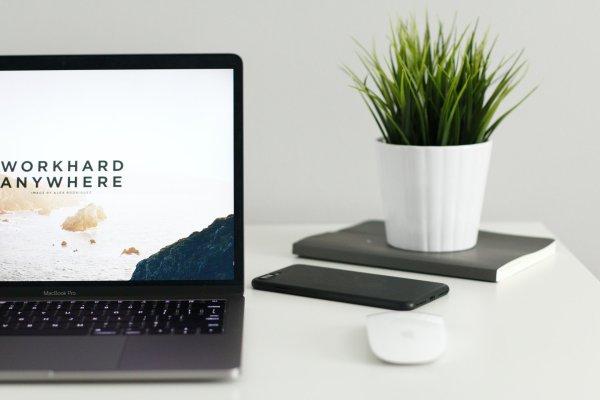 Laptop displaying simple website