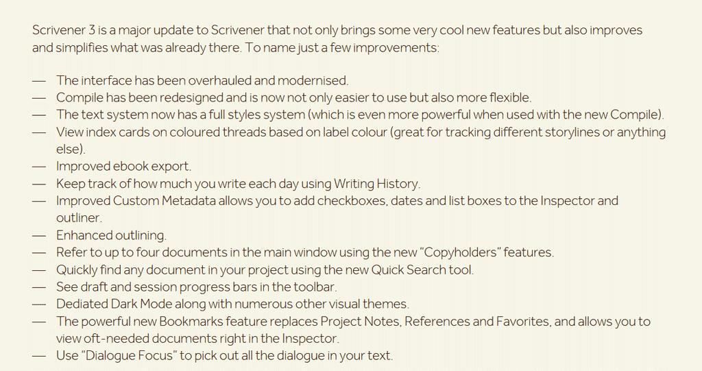 Scrivener 3 improvements