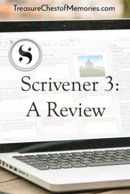 Scrivener 3 a Review graphic with laptop with Scrivener on it pinnable