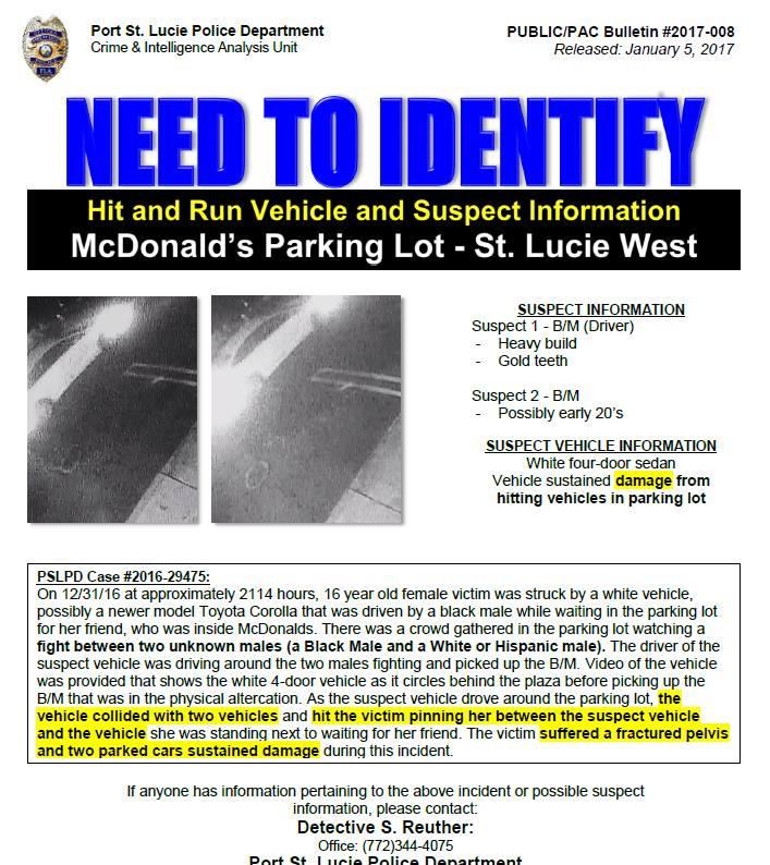PSLPD seeking help with Hit and Run