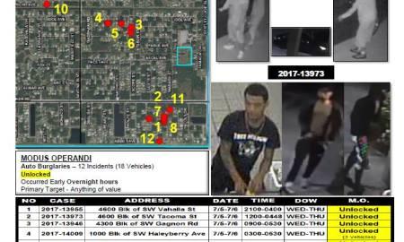 PSLPD Investigating auto burglary spree