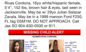 MISSING CHILD ALERT: 16 YO white/hispanic female