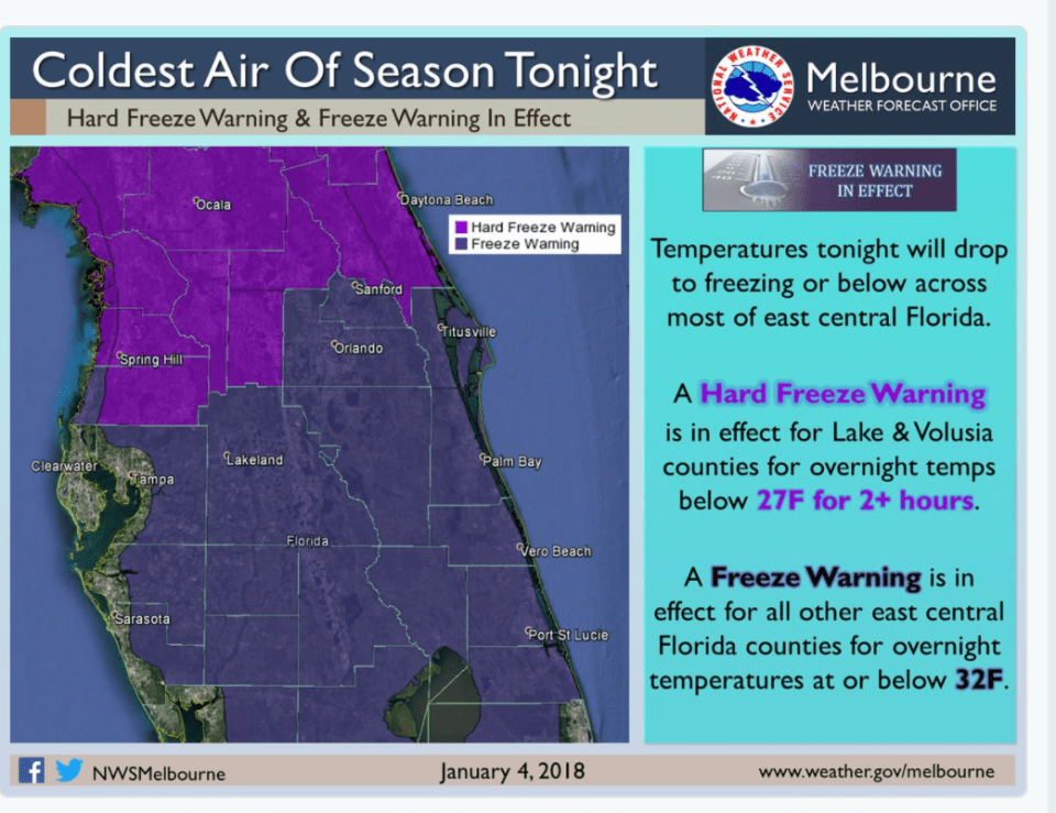 Hard Freeze Warning & Freeze Warning in effect tonight