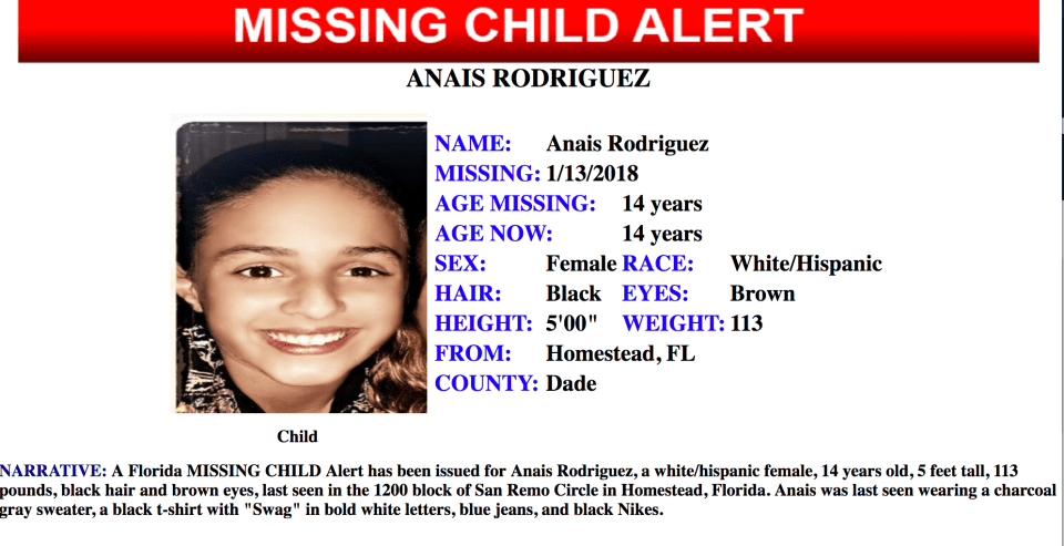FDLE Missing Child Alert: 14-year-old female from Homestead