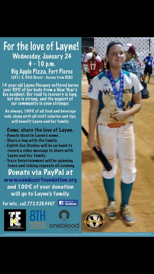 Big Apple Pizza holds fundraiser for Layne Chesney