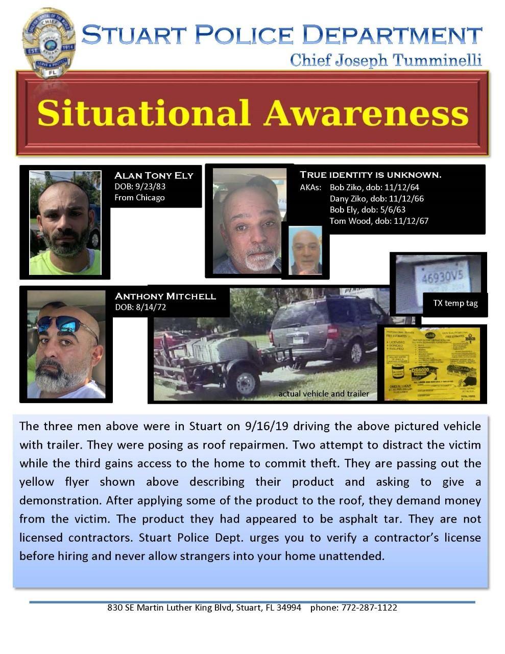 Stuart police: Beware of men posing as roof repairmen