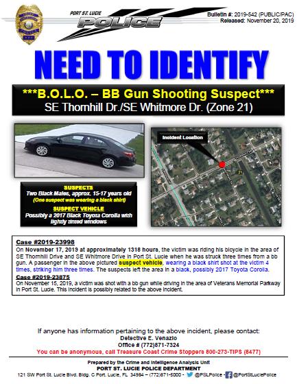 PSLPD investigating BB Gun Shootings