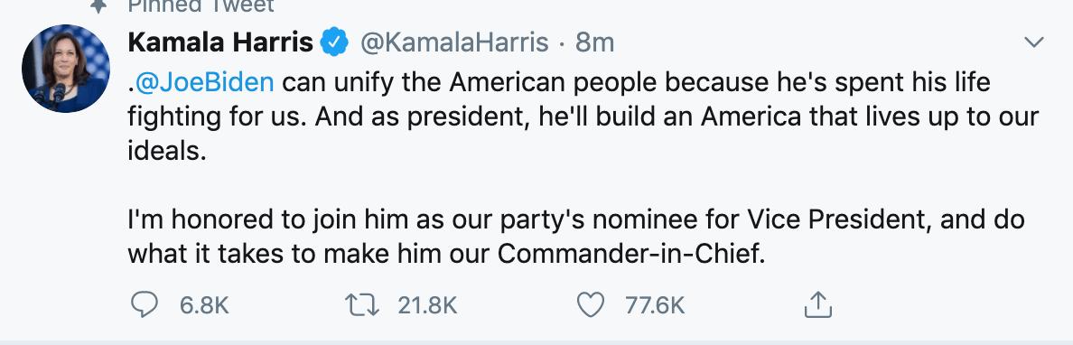 Joe Biden selects Sen. Kamala Harris as running mate