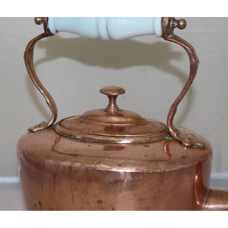 Antique English Copper Kettle With Ceramic Handle