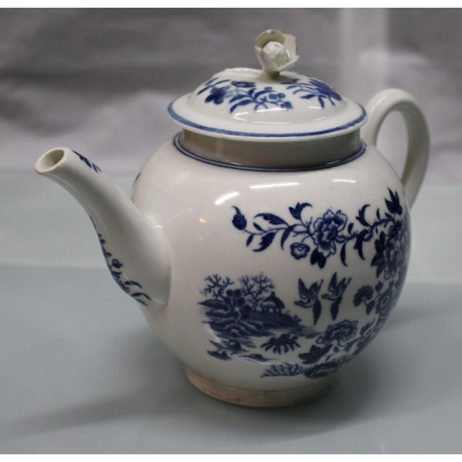 Royal Worcester Dr Wall First Period Blue Amp White Fence Pattern Teapot