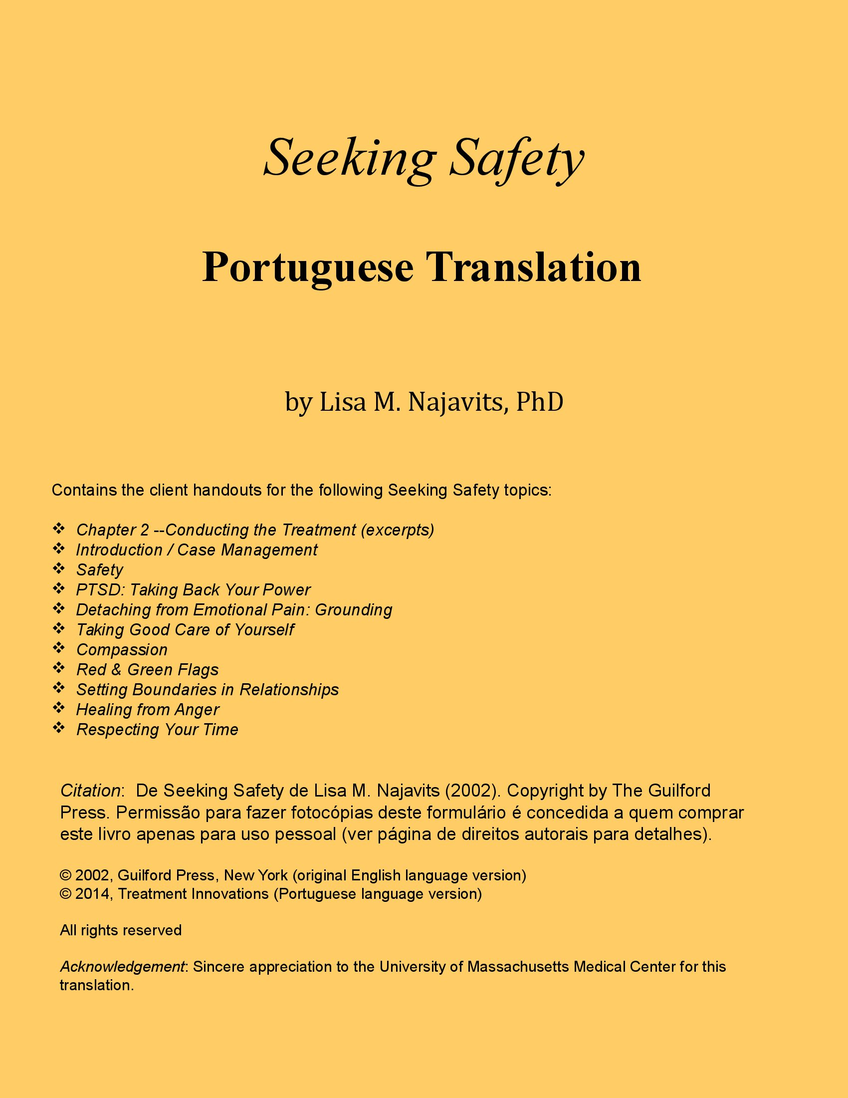 Seeking Safety In Portuguese Client Handouts Only