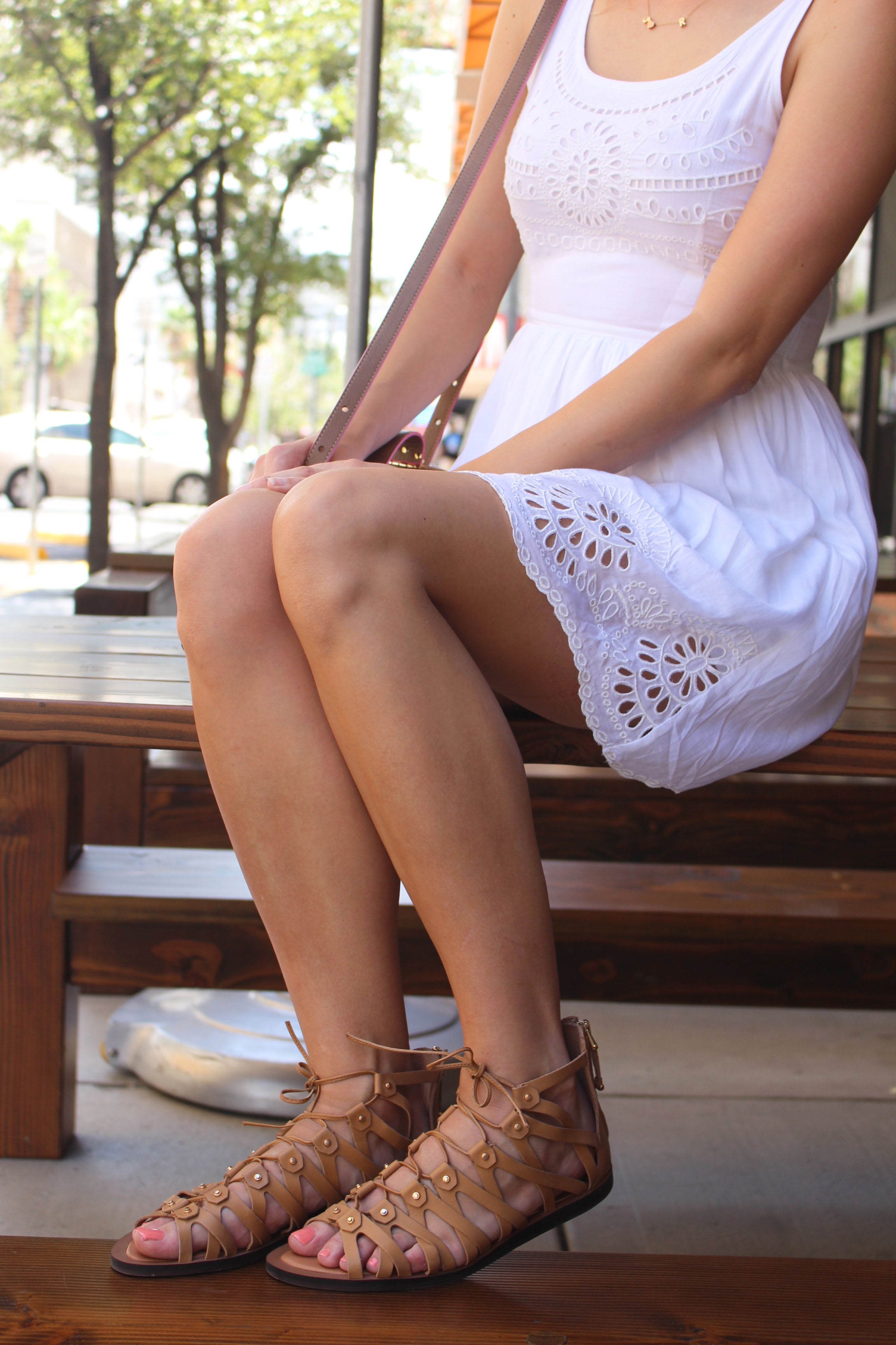 f7f21062998 Eyelet Dress and Gladiator Sandals - Treats and Trends