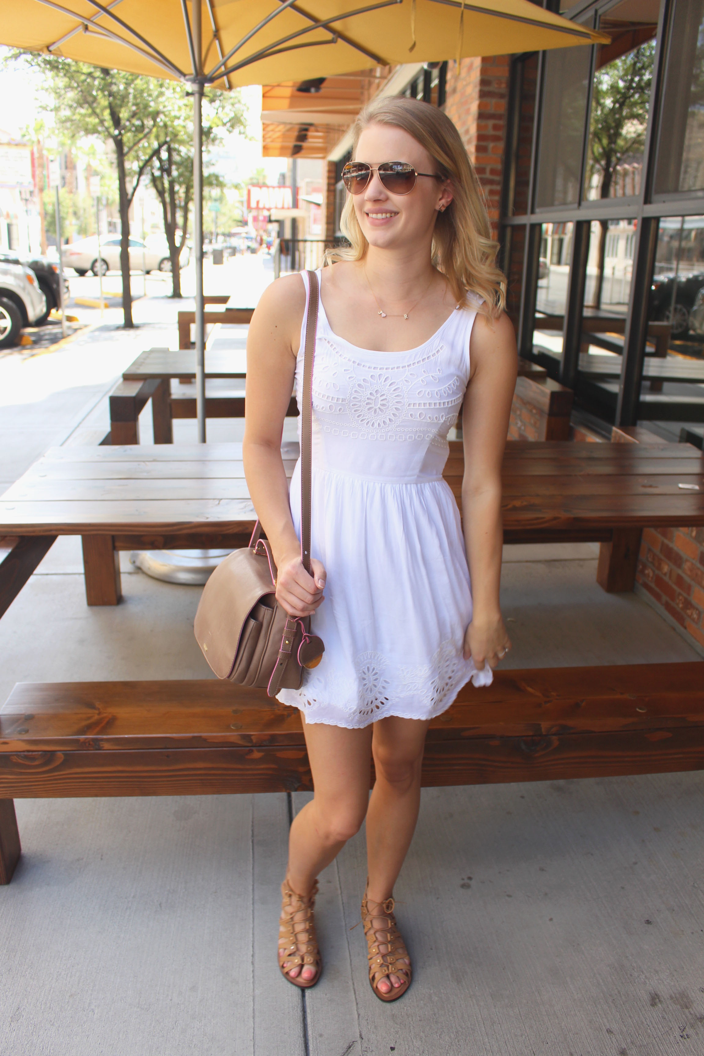 Eyelet Dress And Gladiator Sandals Treats And Trends