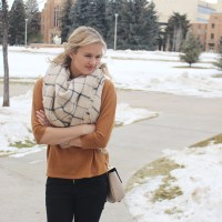 Winter Outfit Idea: Black, Camel and Windowpane