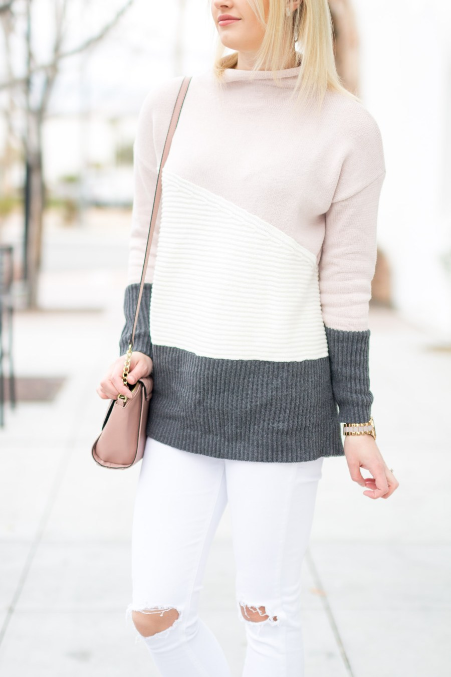 Soft Neutral Colors for Winter, fashion blog, Treats and Trends, color-block sweater, blush, winter outfit idea