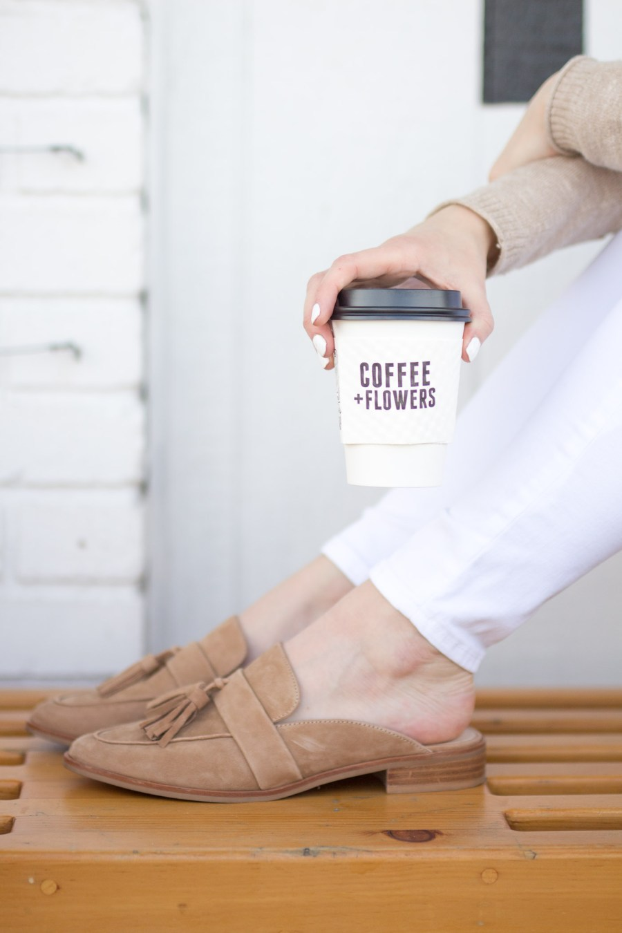 cute coffee shop in San Diego, Communcal Coffee, Coffee + Flowers, fashion blog, food blog, Treats and Trends, spring outfit, tassel mules