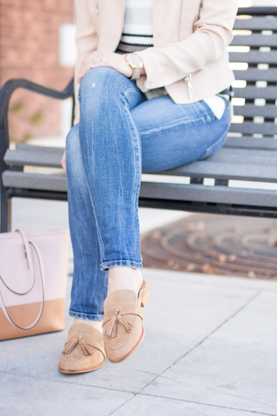 How To Wear Flat Mules In Winter, winter outfit idea, fashion blog, Treats and Trends, Steve Madden tassel mules