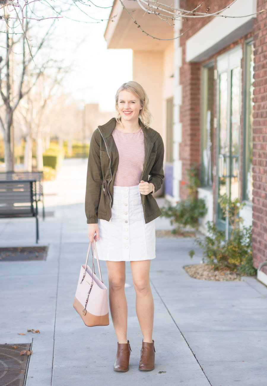 3 Ways To Winterize Your White Denim Skirt, fashion blog, Treats and Trends, winter outfit idea, Madewell skirt