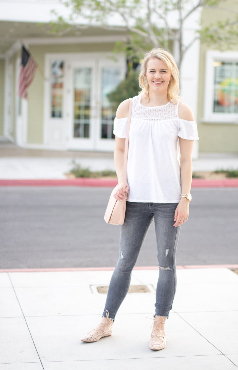 What To Wear With Grey Jeans For Spring, spring outfit idea, fashion blog, Treats and Trends