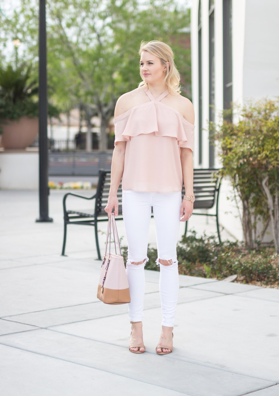 cold shoulder top, blush blouse, ruffle, T.J.Maxx, spring outfit idea, fashion blog, Treats and Trends