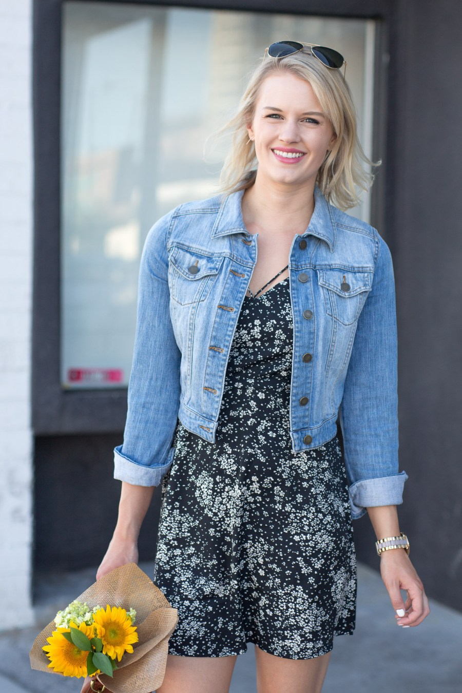 How to style a denim jacket for summer, summer outfit idea, Topshop sundress, fashion blog, Treats and Trends
