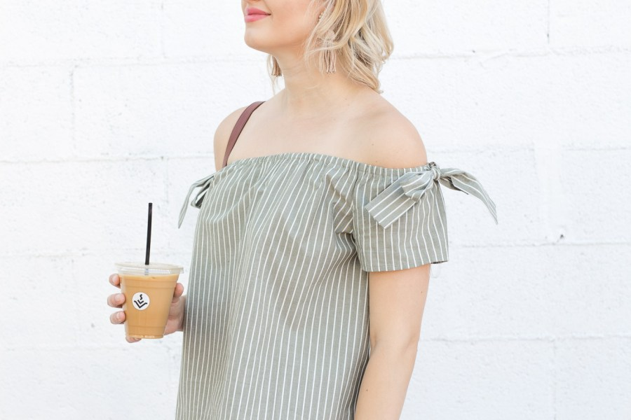 Off The Shoulder Tops You Need For Summer, spring outfit idea, white jeans, fashion blog, Treats and Trends