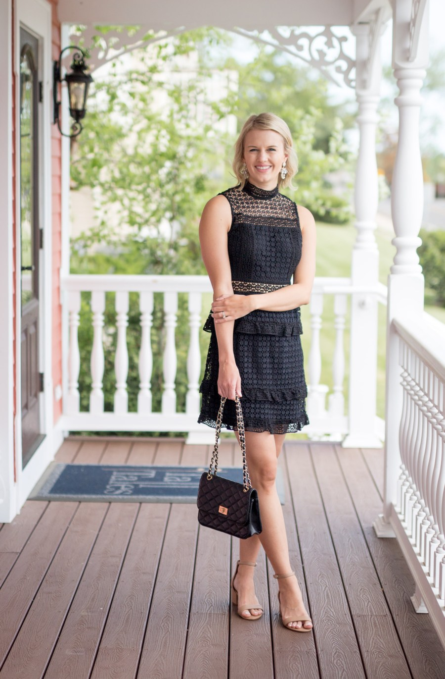 The Perfect Little Black Dress for Wedding Season, black lace dress, Self Portrait dupe, fashion blog, Treats and Trends