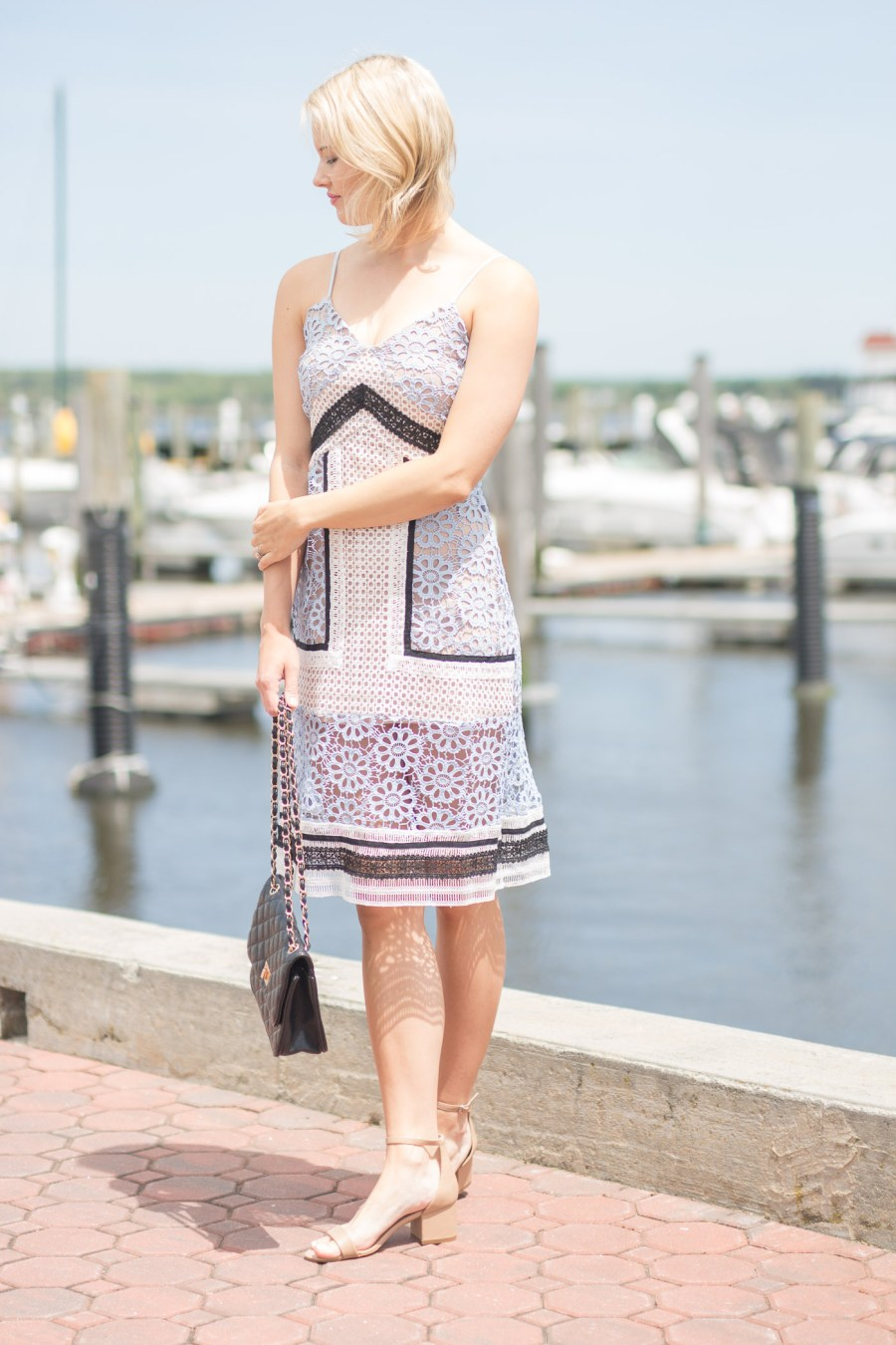 The Perfect Dress for a Coastal Connecticut Wedding, endless rose dress, lace dress, fashion blogger, Treats and Trends