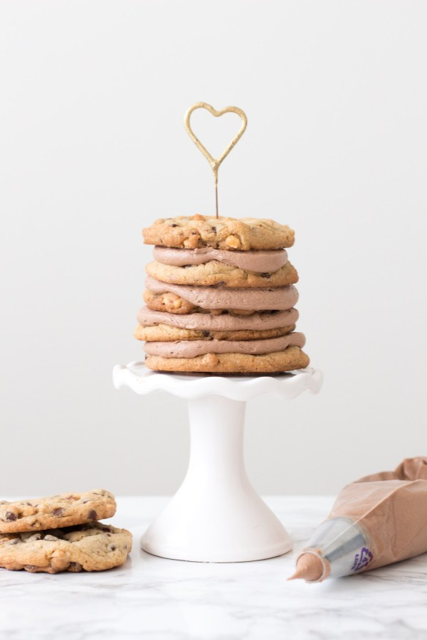 Chocolate Chip Cookie Layer Cake with Nutella Buttercream