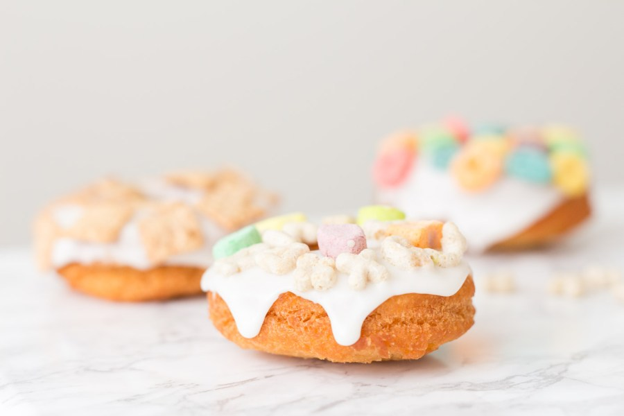 Breakfast Cereal Doughnuts with Almond Glaze