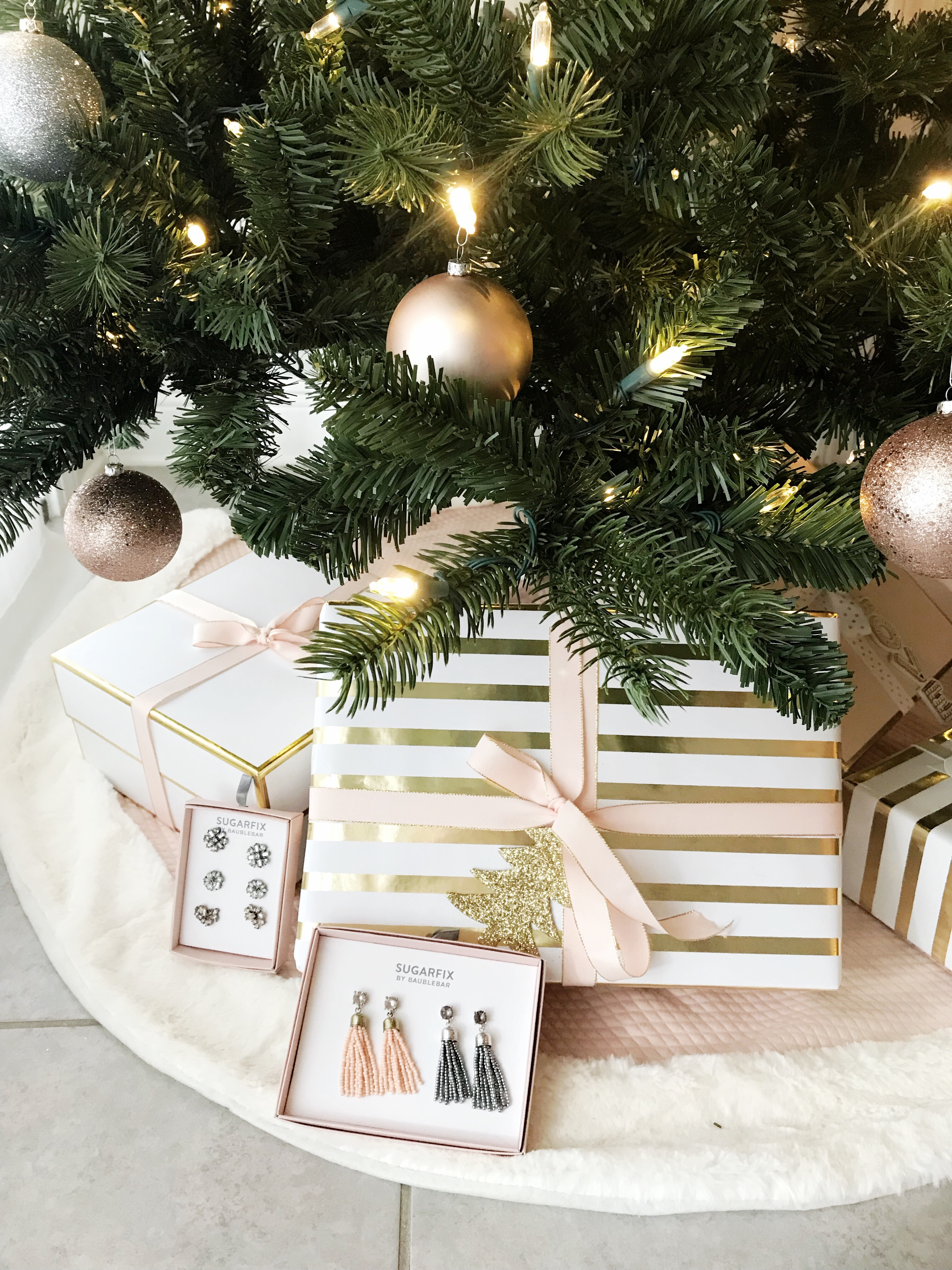 christmas tree with blush and gold wrapping