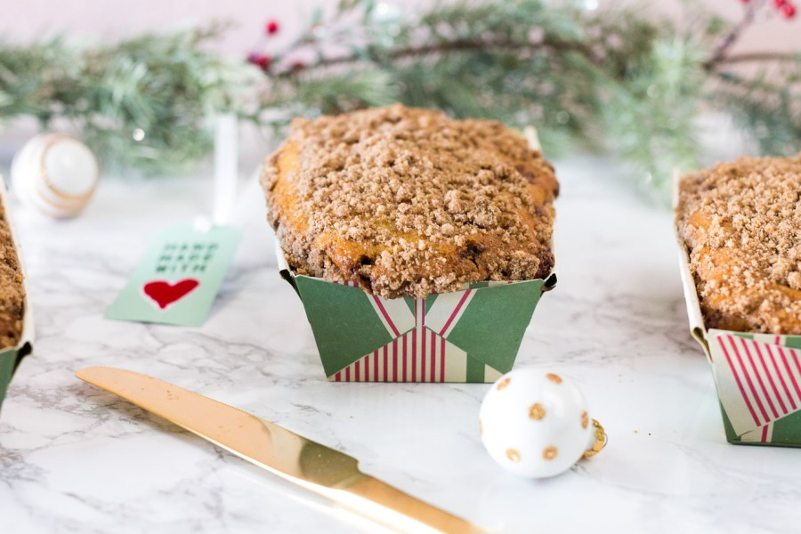 Cinnamon Streusel Quick Bread wrapped for Christmas present