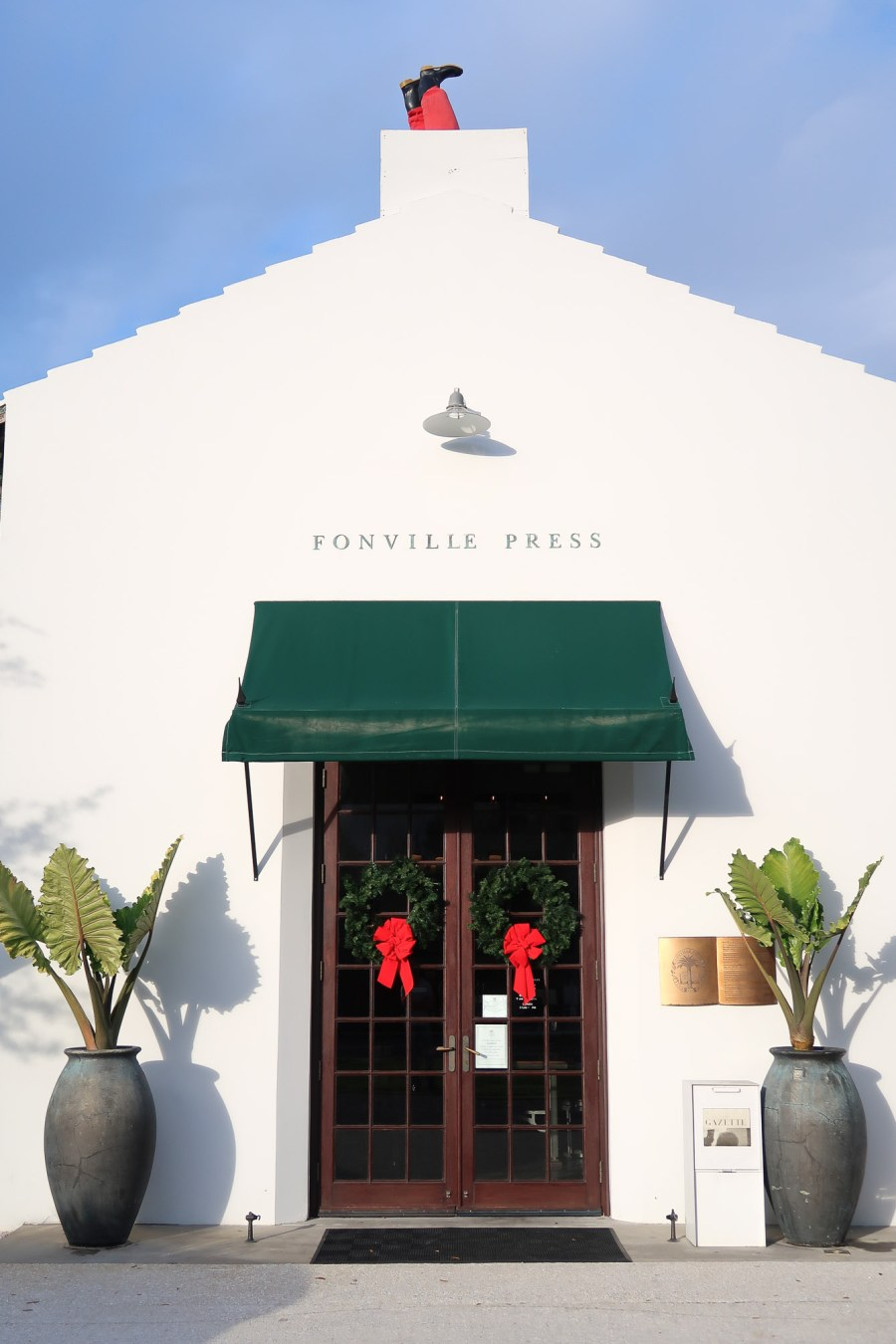 Fonville Press at Alys Beach Christmas decorations on 30A