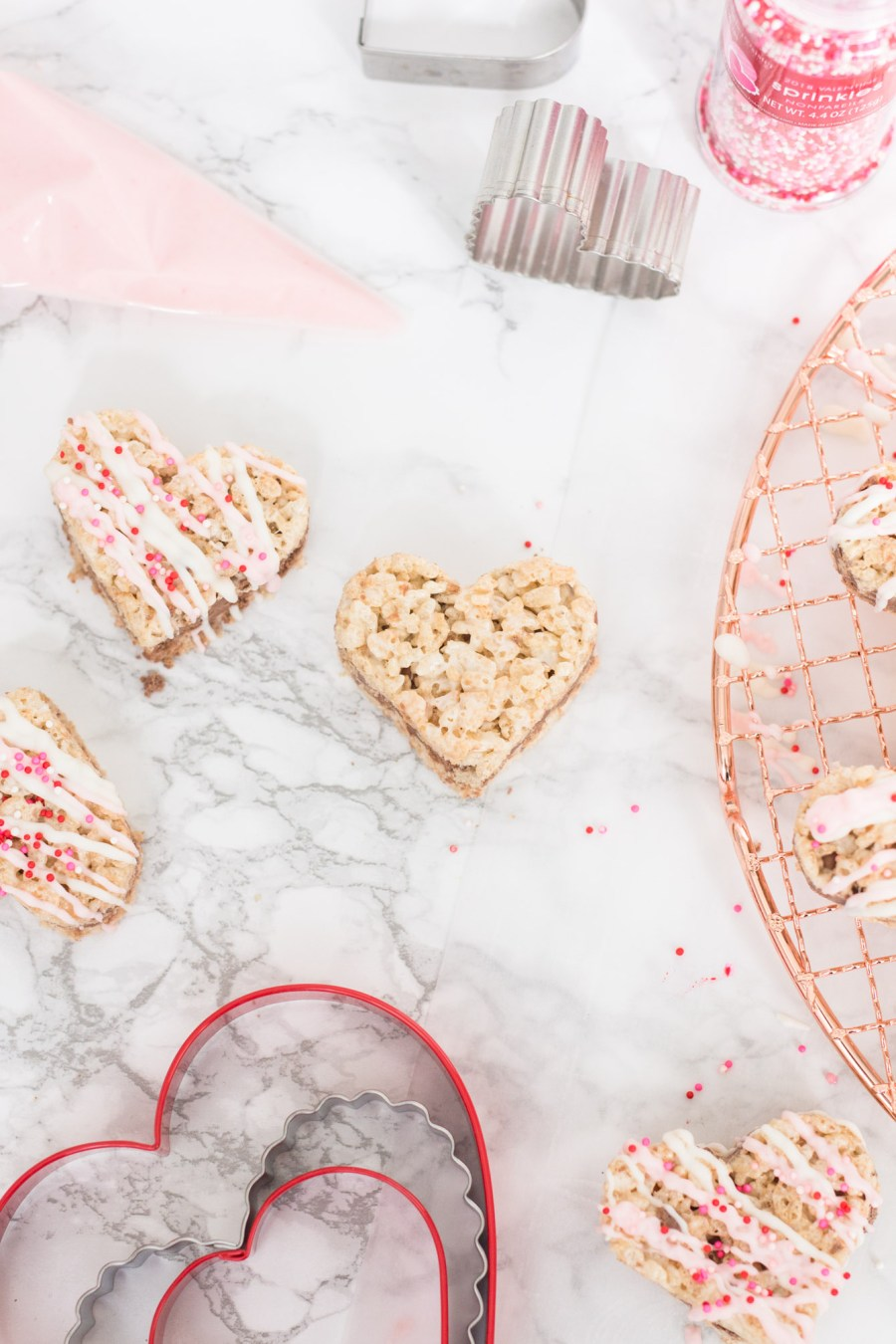 Valentine's Day Rice Krispies Treats with Chocolate Filling